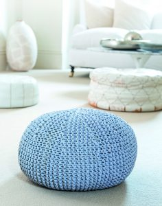 Chunky knitted pouffe that appears in CreaCrafts Knit and Stitch Creative Collection, Issue 1 2017