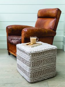 Chunky knitted footstool from Knit and Stitch Creative, Issue 20