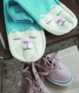Slouch-style cat slipper socks knitted in the round with double-pointed needles