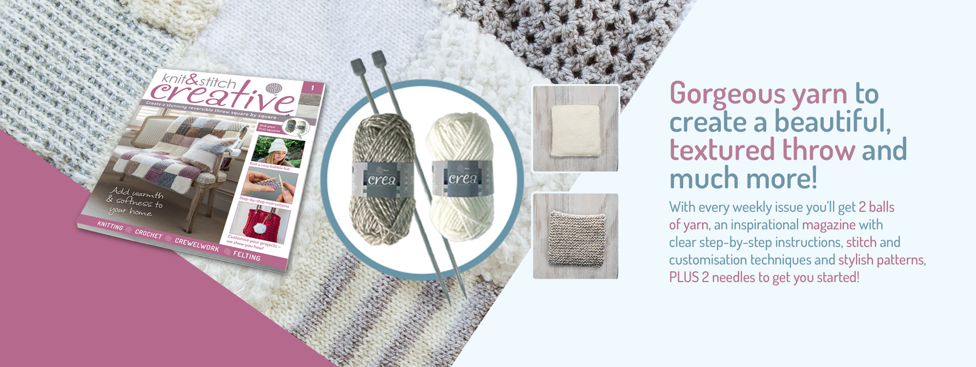 Everything you need to create a beautiful textured throw and much more!